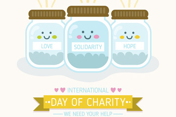 可爱世界慈善日捐款玻璃罐矢量图