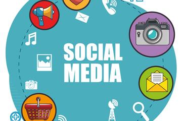 创意社交媒体插画和图标矢量素材