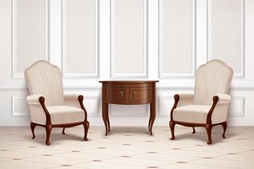 复古桌椅设计矢量素材