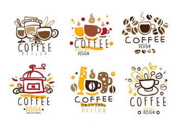 9款彩绘咖啡标志矢量素材