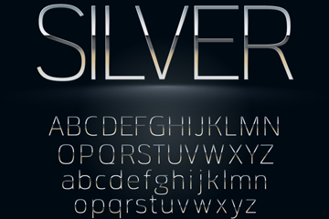 74个银色字母和数字符号矢量图