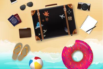 12款夏季沙滩上的度假物品矢量图