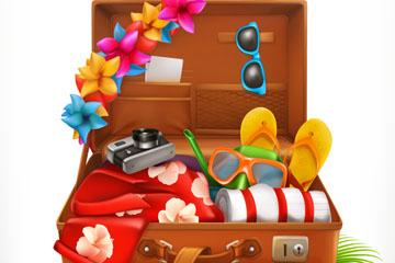 创意打开的旅行箱和物品矢量素材