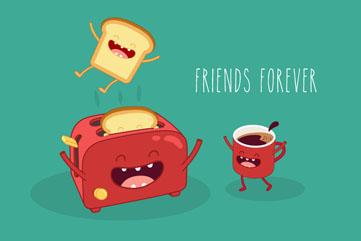卡通面包机和咖啡矢量素材