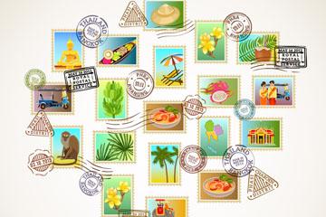 19张泰国风情旅行邮票矢量素材