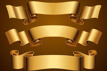 4款华丽金色丝带条幅矢量齐乐娱乐