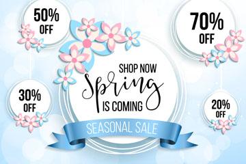 5款创意春季促销标签矢量图