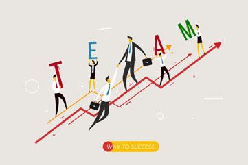 业务增长曲线上的商务团队矢量图