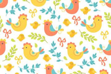 卡通鸡和花卉无缝背景矢量素材