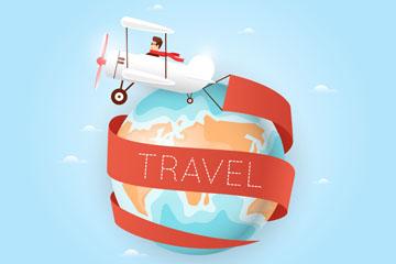 卡通旅行飞机和地球矢量素材