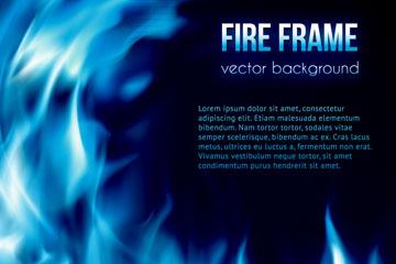 蓝色火焰框架背景矢量素材