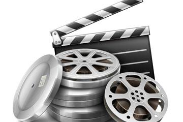 精美场记板和电影胶片矢量素材