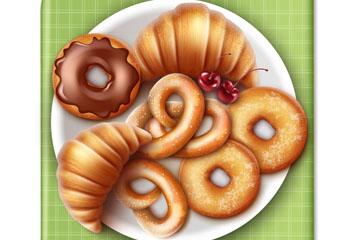 创意装满面包的盘子矢量素材