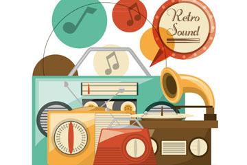 4款复古音乐播放器矢量素材