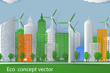 ECO绿色城市建筑群矢量素材