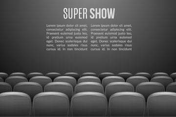 电影院放映室灰色座椅矢量素材