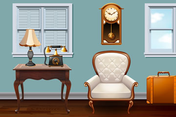 复古客厅家具设计矢量图
