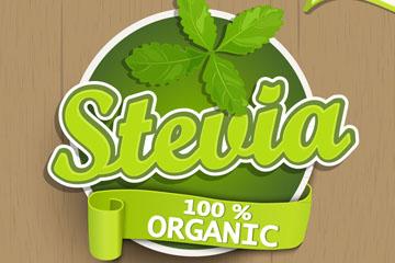 绿色甜叶菊标签矢量素材