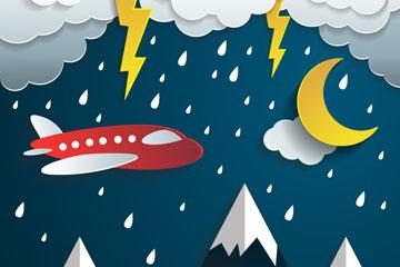 穿过雨层的飞机剪贴画矢量图