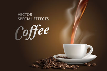 美味热咖啡海报矢量素材
