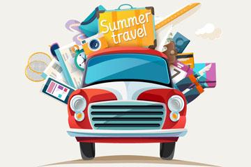 装满度假行李的红色轿车矢量素材
