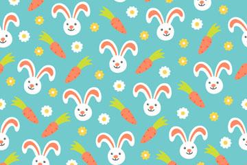 可爱兔子和胡萝卜无缝背景矢量图