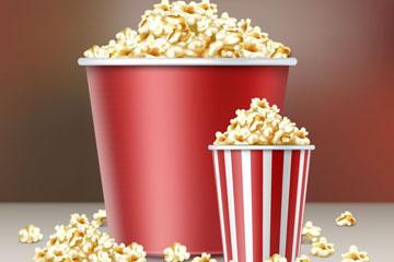 2桶美味电影院爆米花矢量素材