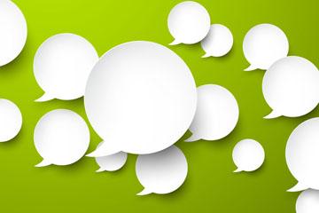 绿底白色语言气泡群矢量素材
