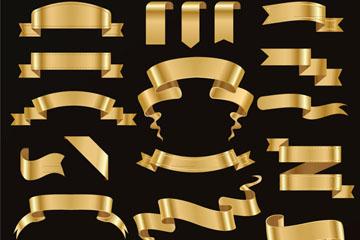 22款金色丝带条幅矢量素材