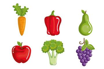 9款健康蔬菜和水果矢量素材