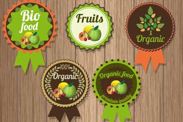 10款创意有机水果徽章矢量素材