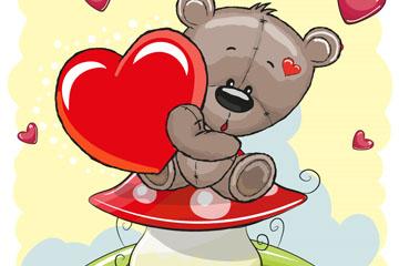 卡通坐在蘑菇上的泰迪熊矢量图