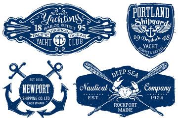 6款深蓝色复古航海标签矢量素材