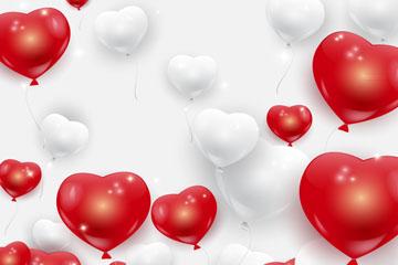 质感白色和红色爱心气球矢量图