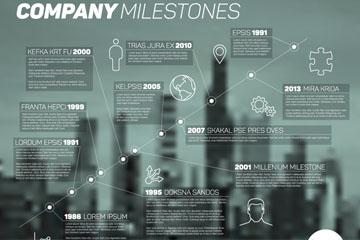 模糊城市建筑企业发展信息图矢量图