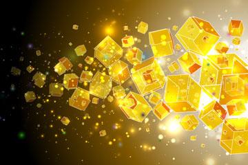 金色正方体群背景矢量素材