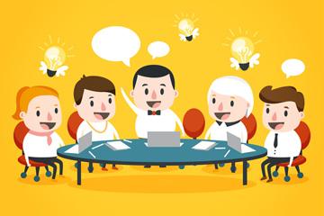 5个商务会议人物矢量素材