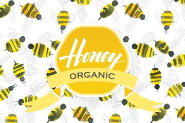 水彩绘蜜蜂无缝背景矢量素材