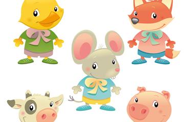 5款可爱卡通动物矢量素材
