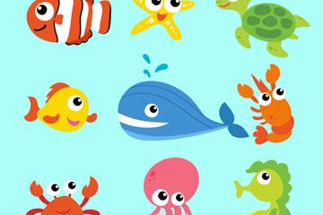9款卡通海洋动物矢量素材
