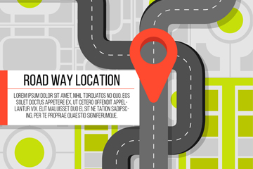 扁平化道路和地标矢量素材