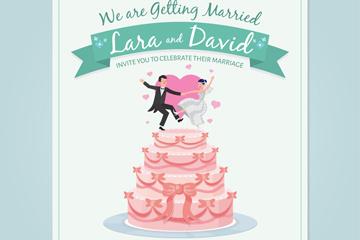 创意跳舞新人婚礼蛋糕邀请卡矢量