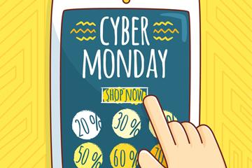 彩绘网络星期一购物平板电脑矢量