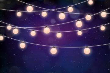 明亮夜晚灯串设计矢量素材