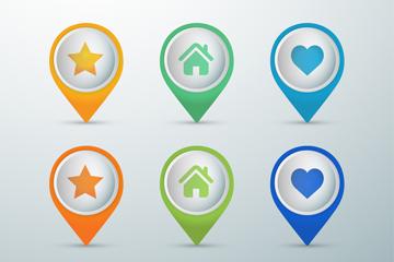 6款彩色网页地点标识图标矢量素材