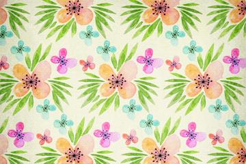 水彩绘带叶花朵无缝背景矢量图