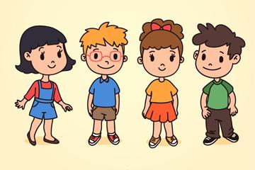 4款可爱儿童设计矢量素材
