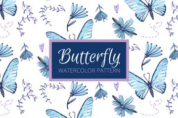 蓝色蝴蝶和花卉无缝背景矢量图