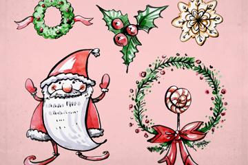 5款彩绘圣诞节元素矢量素材