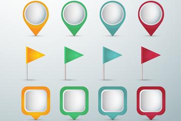 12款彩色地标符号矢量素材